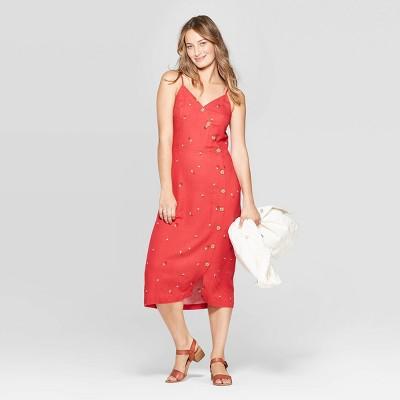 Women's Sleeveless V-Neck Asymmetrical Button Detail Dress - Universal Thread™ Red