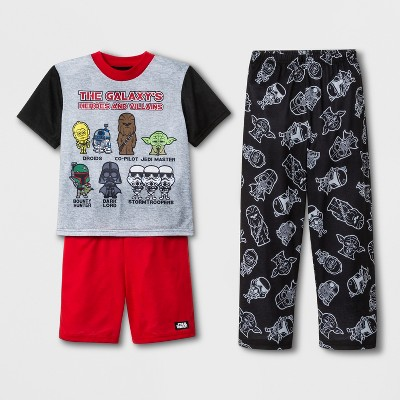 Boys' Star Wars 3pc Pajama Set - Gray/Red/Black