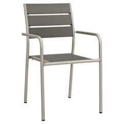 Chair Cba Steel Leather Cushion Shore Outdoor Patio Aluminum Dining In Silver Gray Modway