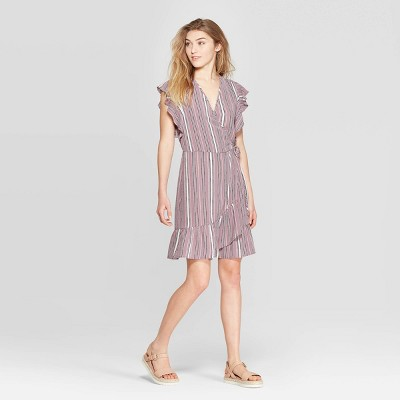 Women's Striped Short Sleeve Deep V-Neck Ruffle Bottom Wrap Dress - Xhilaration™ Mauve