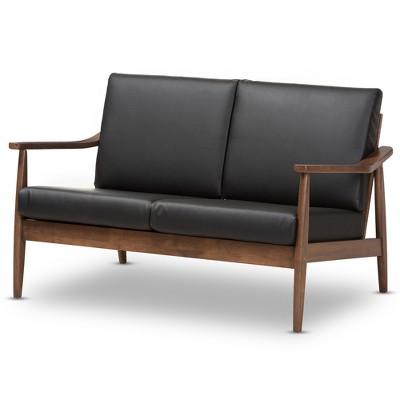 Venza Mid Modern Walnut Wood Faux Leather 2 Seater Loveseat Black - Baxton Studio