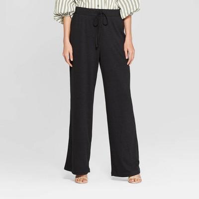 Women's Textured Knit Wide Leg Pants - Who What Wear™ Black