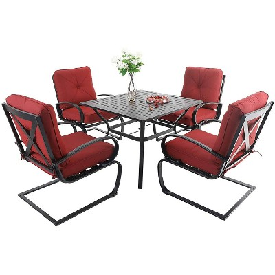 5pc patio dining set with square table 4 metal spring motion chairs red captiva designs