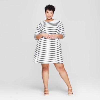 Women's Plus Size Striped Long Sleeve Scoop Neck Knit Swing Dress - Ava & Viv™ Black/White