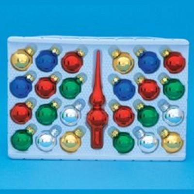 Kurt S. Adler 25-Piece Multi-Color Mini Glass Ball and Red Tree Topper Christmas Ornament Set