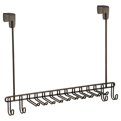 "InterDesign Classico Over-the-Door Steel Tie & Belt Rack - Bronze (15"")"