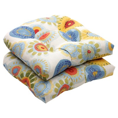 outdoor 2 piece wicker chair cushion set blue white yellow floral