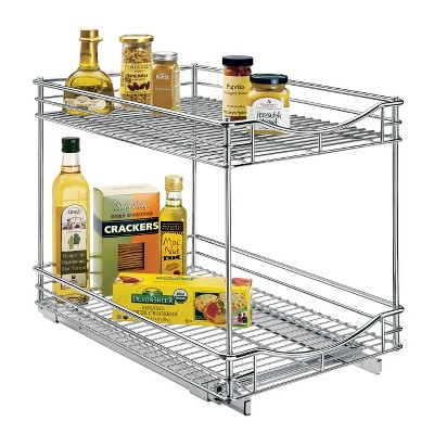 "Lynk Professional 14"" x 21"" Slide Out Double Shelf - Pull Out Two Tier Sliding Under Cabinet Organizer"