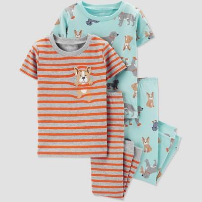 Baby Boys' 4pc Stripe Dog Pajama Set - Just One You® made by carter's Blue/Orange