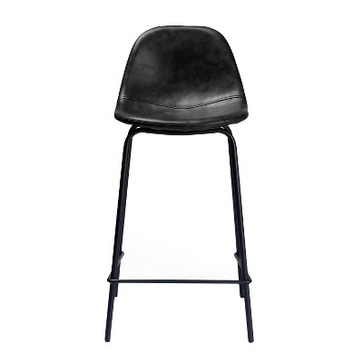 Maxine Modern Upholstered Faux Leather Counter Stool (Set of 2) - Aeon