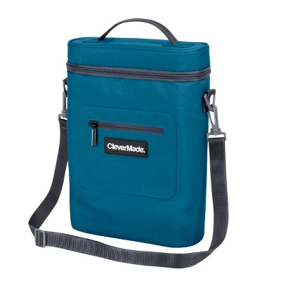 CleverMade Wine Cooler with Insulated Cold Pack, Wine Opener and Shoulder Strap - Blue/Charcoal