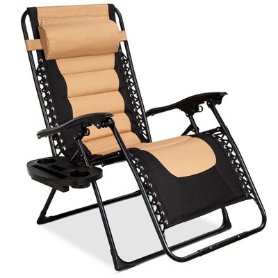 best choice products oversized padded zero gravity chair folding outdoor patio recliner w headrest side tray tan