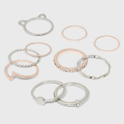Mixed Textured Band and Stone Ring Set 10pc - Wild Fable™