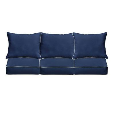 sunbrella outdoor seat cushion navy blue ivory