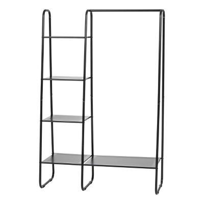 iris metal garment rack with metal mesh shelves black