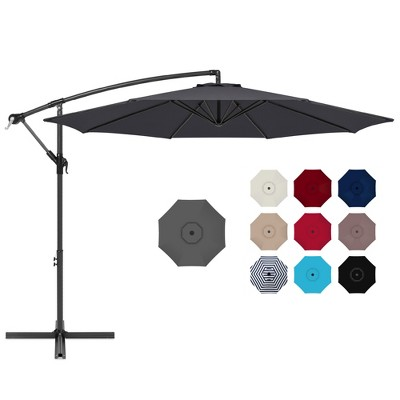best choice products 10ft offset hanging outdoor market patio umbrella w easy tilt adjustment gray