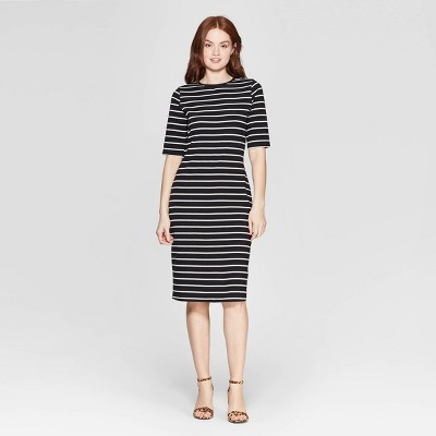 Women's Striped 3/4 Sleeve Crewneck Knit Dress - A New Day™ Black/White