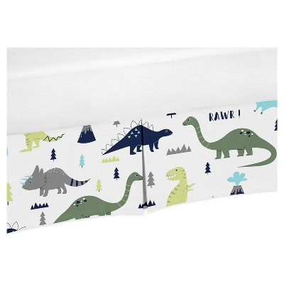 Sweet Jojo Designs Crib Skirt - Blue & Green Mod Dino  - Print