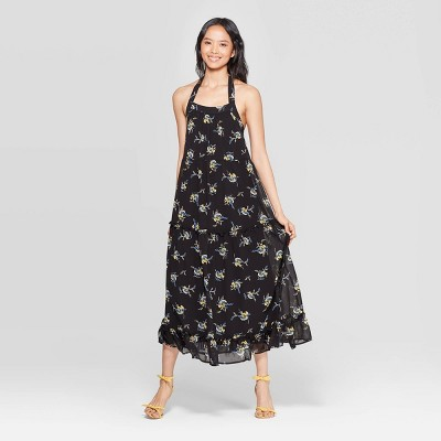 Women's Floral Print Off the Shoulder Sleeveless Tiered Halter Maxi Dress - Who What Wear™