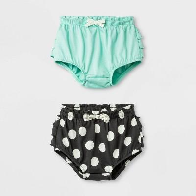 Baby Girls' 2pc Ruffle and Dots Shorts Set - Cat & Jack™ Green/Black