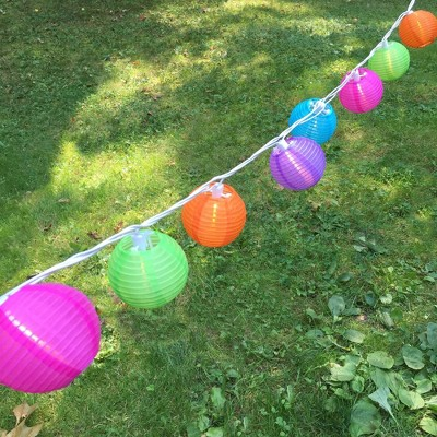 10ct electric string lights with 3 x7 nylon lanterns multi color