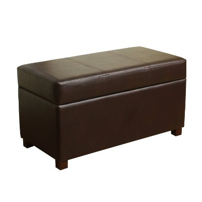 chocolate brown leather sectional sofa with 2 storage ottomans hickory chair reviews essex basic bench threshold target