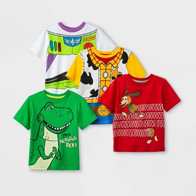 Toddler Boys' Disney Toy Store 4pk Short Sleeve T-Shirts - Red/Green