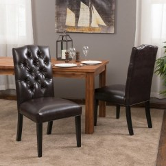 Leather Tufted Dining Chair Best Recliner Crown Top Bonded Brown Set Of 2 1 More
