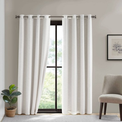 84 x50 shaye cotton blackout curtain panel with removable liner white