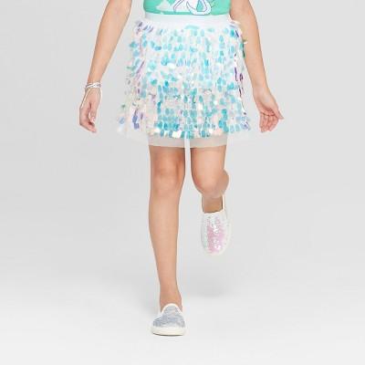 Girls' Iridescent Sequin Skirt - Cat & Jack™ Cream
