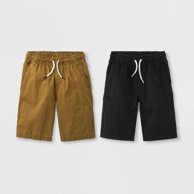 Boys' 2pk Woven Chino Pull-On Shorts - Cat & Jack™ Black/Brown