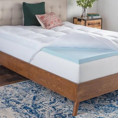 twin pillow top gel memory foam mattress topper brookside