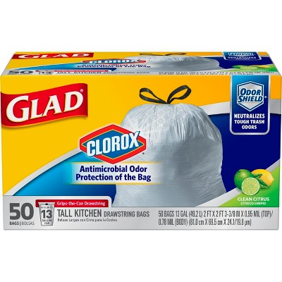 glad tall kitchen drawstring trash bags home depot cabinets sale odorshield antimicrobial resistant 50ct target
