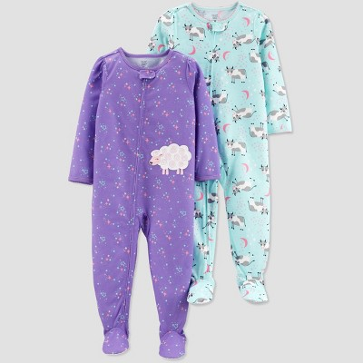 Toddler Girls' Purple Sheep Cow Footed Sleepers - Just One You® made by carter's Purple/Aqua