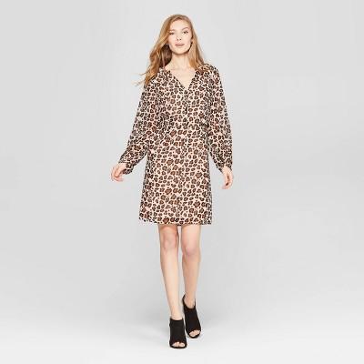 Women's Leopard Print Long Sleeve Chiffon Dress - A New Day™ Tan