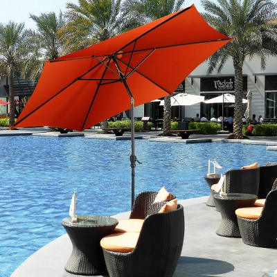 costway 10 ft patio umbrella patio market steel tilt w crank outdoor yard garden orange