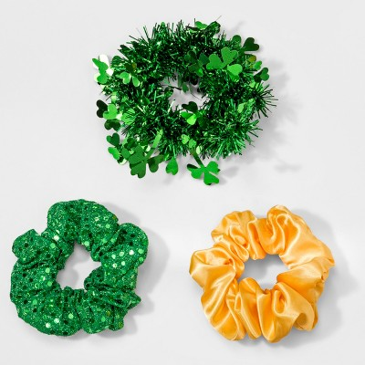 Sequins Hair Scrunchies 3pc - Green/Gold