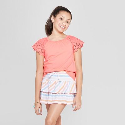 Girls' Short Sleeve Eyelet Sleeve T-Shirt - Cat & Jack™ Peach