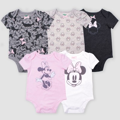Baby Girls' 5pk Disney Minnie Mouse Short Sleeve Bodysuits - Gray/Pink/White