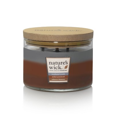 18oz Glass Jar 3-Wick Candle Weathered Woods/Amber Patchouli/Tobacco Blossom- Nature's Wick