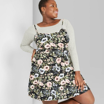 Women's Plus Size Floral Print Strappy Knit Swing Dress - Wild Fable™ Black