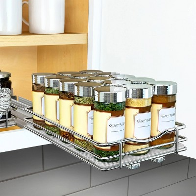 lynk professional slide out spice rack upper cabinet organizer 6 wide