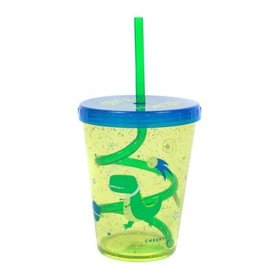 Cheeky 14.5oz Plastic Straw Tumbler Space Dinosaur Green/Blue