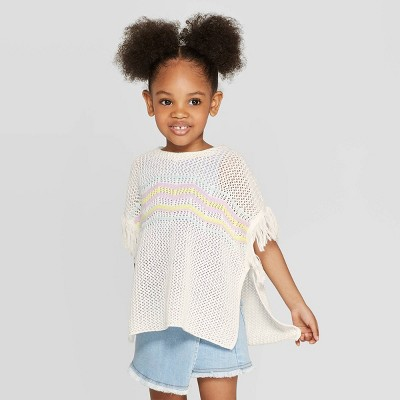 Toddler Girls' Striped Baja Pullover Sweater - art class™ Cream