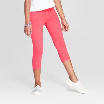 Girls' Capri Sparkle Leggings - Cat & Jack™ Coral