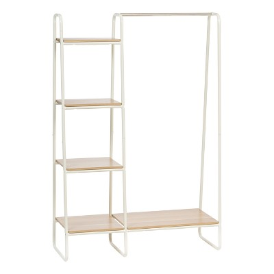 iris metal garment rack with wood shelves white