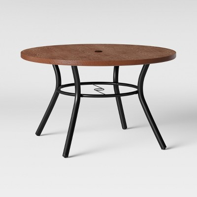 southport 4 person wood textured metal top round patio dining table brown black opalhouse