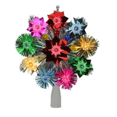 "Northlight 8.5"" Lighted Tinsel Starburst Star Christmas Tree Topper - Multi-Color Lights"