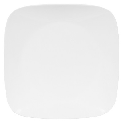 "Corelle Rounded Square Glass Dinner Plate 10.5 "" White"