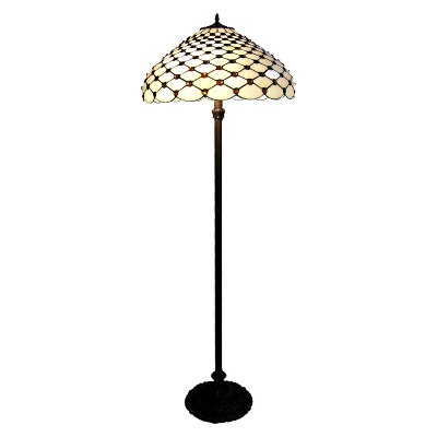Tiffany Style Floor Lamp (Lamp Only) - Amber/White